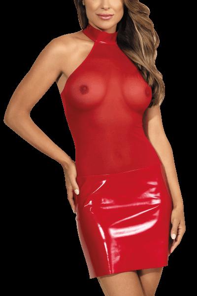 Rotes Wetlook Kleid mit Tüll