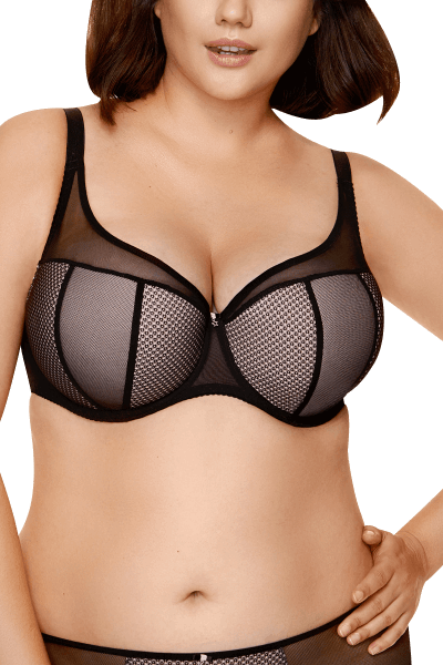 Tüll-BH in schwarz/rosa Plus Size