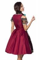 3tlg. Luxus Dirndl mit Blumenschürze - rot/schwarz