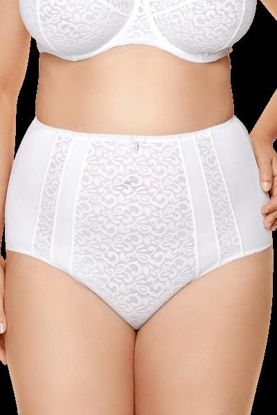 High-Waist Slip mit Ornamenten Weiß Plus Size