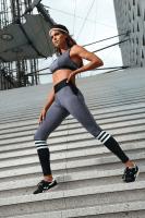 Fitness Leggings grau/schwarz/weiß