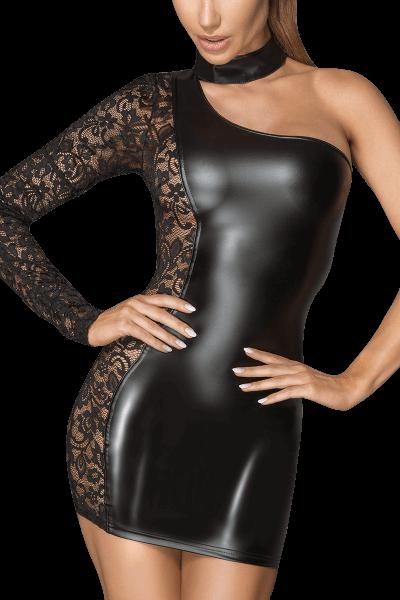 One-Shoulder Wetlook Kleid