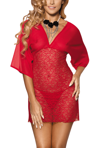 Chemise in rot mit Spitze