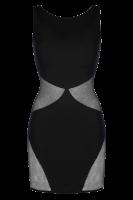 Schwarzes Kleid mit Tüll-Einsätzen
