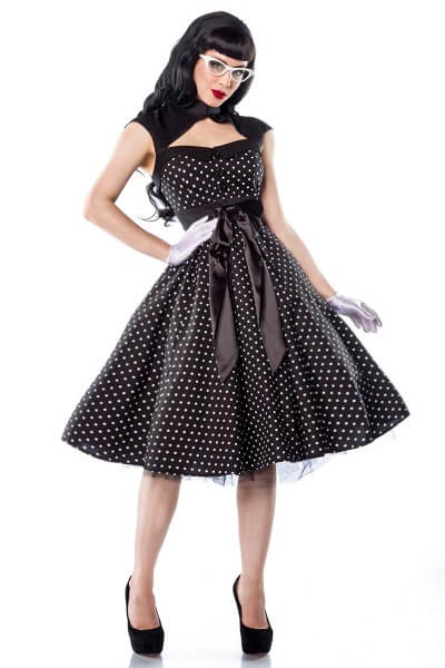 Rockabilly- Kleid gepunktet in schwarz