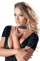 Halsband mit Strasssteinen - Spaltleder