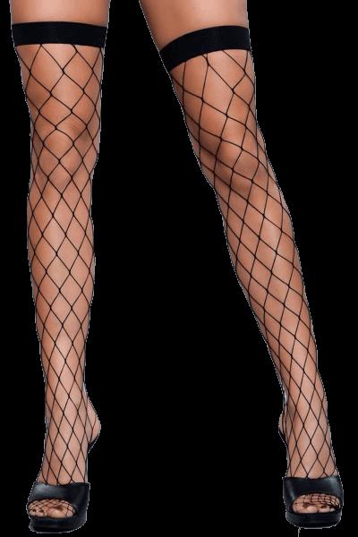 halterlose Stockings mit groben Maschen