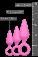 3tlg. Analplug-Set rosa - S/M/L