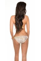 Neckholder Bikini animal weiß/gold