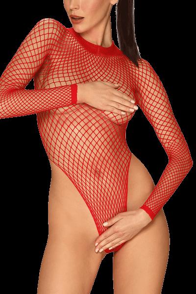 Langarm Body aus Netz rot