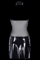 Schwarzes Wetlook Kleid mit Tüll