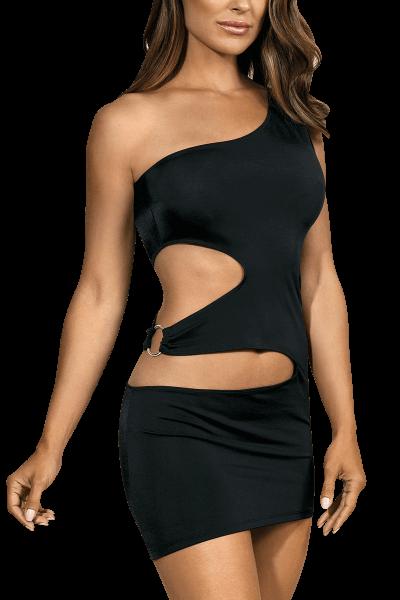 Schwarzes Minikleid mit Cut-Outs
