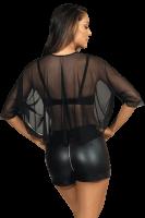 Schwarze Tüll-Bluse