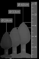 Schwarzer Analplug mit Kristall - S/M/L