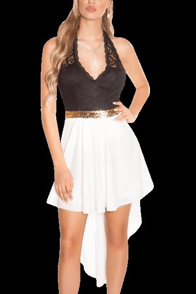 Asymmetrisches Neckholder-Kleid schwarz/weiß