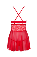 Rotes Babydoll mit Spitze