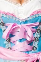 2tlg.  Luxus Dirndl mit Blumenschürze - blau/rosa