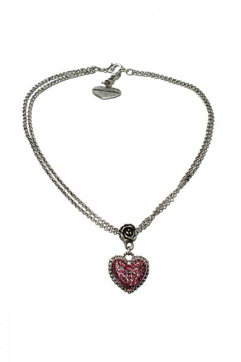 Halskette mit Strass-Herz fuchsia