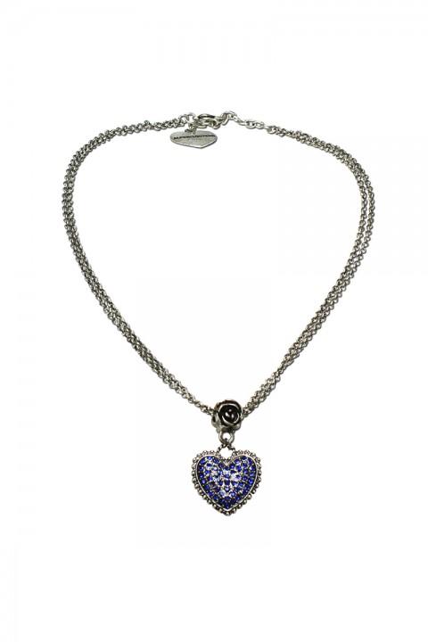 Halskette mit Strass-Herz blau