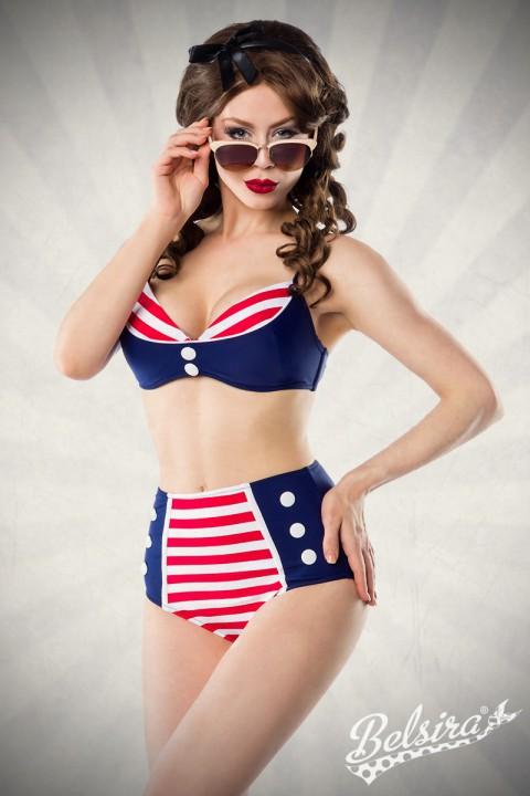Marine Bikini rot/blau/weiß