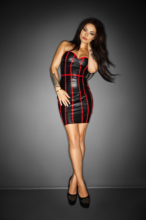 Wetlook Kleid schwarz/rot Plus Size