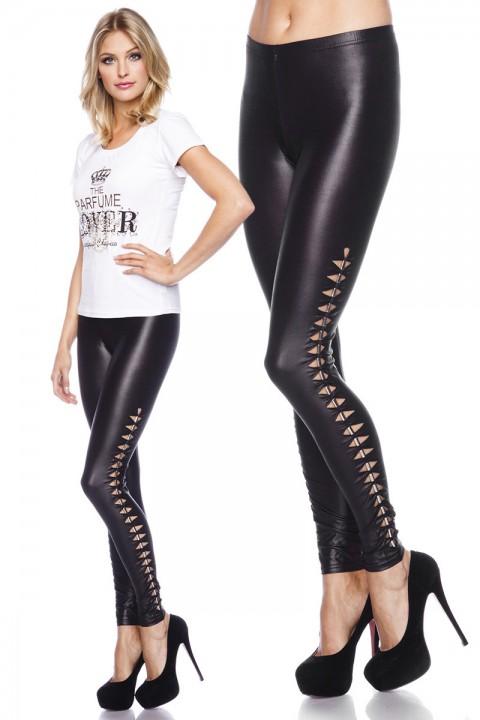 Wetlook Leggings mit Cutout