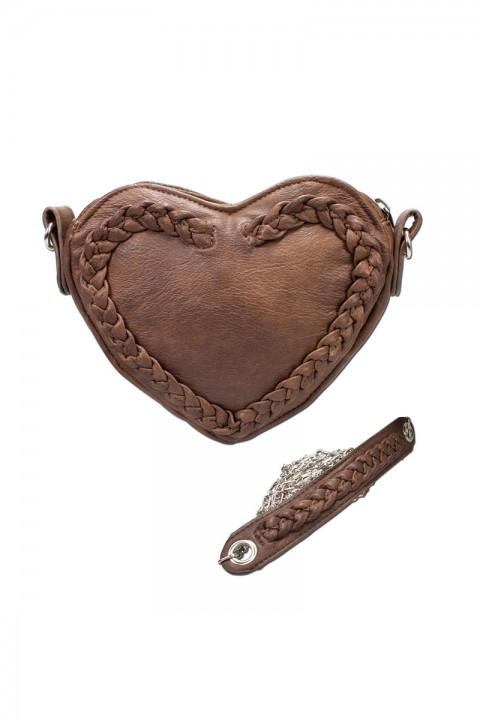 Trachtentasche Herz braun