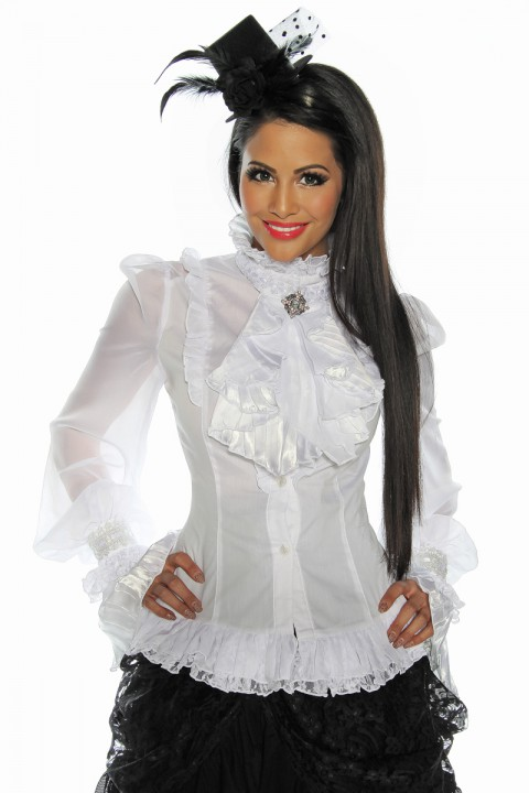 weiße Longbluse